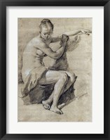 Framed Seated Female Nude