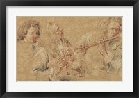 Framed Two Studies of Flutist and Head of a Boy