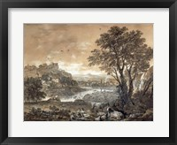 Framed Landscape with Shepherds Resting Under a Tree by a Cascade