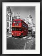 Framed Red Bus