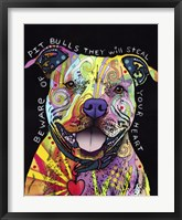Framed Beware of Pit Bulls