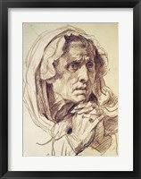 Framed Study of the Head of an Old Woman