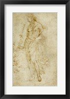 Framed Female Figure with a Tibia, and Ornamental Studies