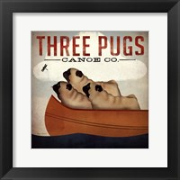 Three Pugs in a Canoe v Framed Print