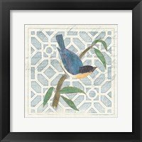 Framed Monument Etching Tile I Blue Bird