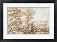 Framed Wooded Landscape with Travelers by a Stream, a Town Beyond