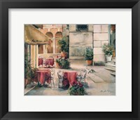 Plaza Cafe Framed Print