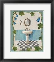 Bell Flower Bath II on Ivory Framed Print