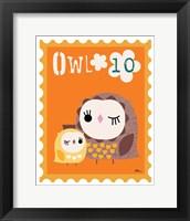 Animal Stamps - Owl Framed Print