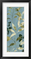 Leaves on Blue I Framed Print