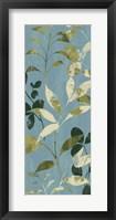 Leaves on Blue I Framed Print