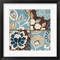Patchwork Motif Blue I Framed Print