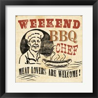 Weekend BBQ Chef Framed Print