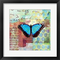 Framed Homespun Butterfly III