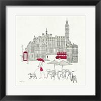 World Cafe I - London Red Framed Print