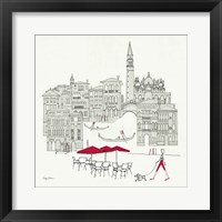 World Cafel IV - Venice Red Framed Print