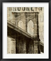 Framed Vintage NY Brooklyn Bridge