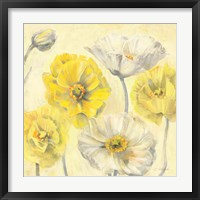Framed Gold and White Contemporary Poppies II