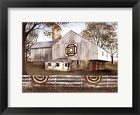 Framed American Star Quilt Block Barn