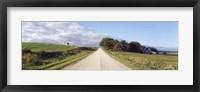 Framed Dirt road leading to a church, Iowa, USA