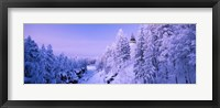 Framed Snow covered trees in front of a hotel, Imatra State Hotel, Imatra, Finland