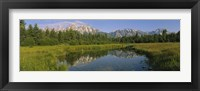 Framed Reflection of a mountain in a lake, Grand Teton National Park, Wyoming, USA