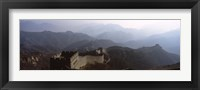Framed High angle view of a fortified wall passing through a mountain range, Great Wall Of China, Beijing, China
