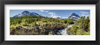 Framed Waterfalls at base of a lake, Swiftcurrent Lake, Glacier National Park, Montana, USA