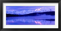 Framed Reflection of snow covered mountains on water, Mt McKinley, Wonder Lake, Denali National Park, Alaska, USA