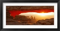 Framed Mesa Arch at sunset, Canyonlands National Park, Utah, USA