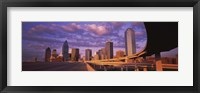 Framed Dallas Skyscrapers ( Purple Sky)