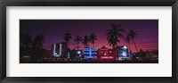 Framed Hotels Illuminated At Night, South Beach Miami, Florida, USA