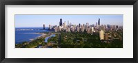 Framed Aerial View Of Skyline, Chicago, Illinois, USA