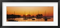 Framed Silhouette of sailboats in a lake, Lake Michigan, Chicago, Illinois, USA