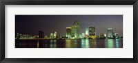 Framed Miami Skyline at Night