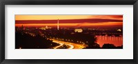 Framed Sunset, Aerial, Washington DC, District Of Columbia, USA
