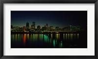 Framed Buildings lit up at night, Willamette River, Portland, Oregon, USA