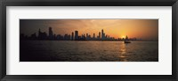 Framed Silhouette of buildings at the waterfront, Navy Pier, Chicago, Illinois, USA