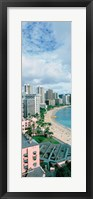 Framed High angle view of a beach, Waikiki Beach, Honolulu, Oahu, Hawaii, USA