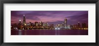 Framed Chicago with Purple Night Sky