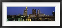 Framed Buildings lit up at night, Columbus, Scioto River, Ohio, USA