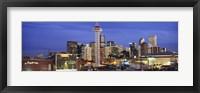 Framed Denver skyline at dusk, Colorado