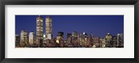 Framed Skyline with World Trade Center at Night