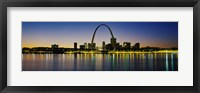 Framed City lit up at night, Gateway Arch, Mississippi River, St. Louis, Missouri