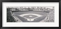 Framed Wrigley Field in black and white, USA, Illinois, Chicago