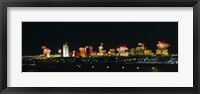Framed Distant View of Buildings Lit Up At Night, Las Vegas, Nevada, USA