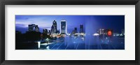 Framed Fountain, Cityscape, Night, Jacksonville, Florida, USA