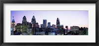 Framed Philadehphia Skyline with Pink and Purple Sky