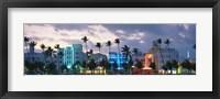 Framed Buildings Lit Up At Dusk, Ocean Drive, Miami Beach, Florida, USA