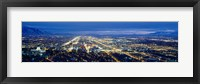 Framed Aerial view of a city lit up at dusk, Salt Lake City, Utah, USA